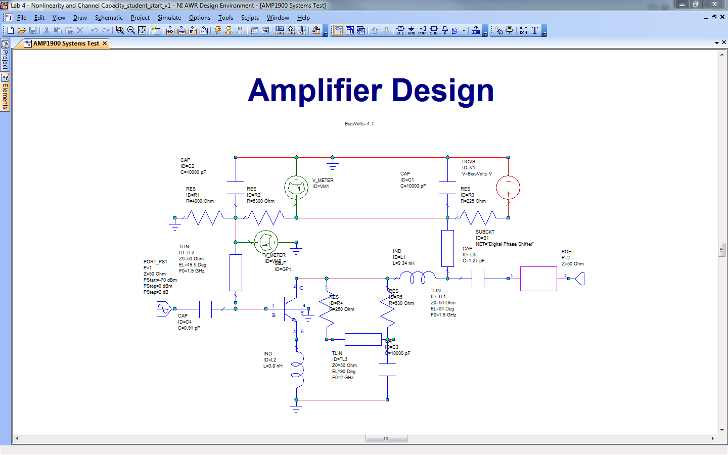 Lab 4 Non Linearity And Channel Capacity David S Ricketts Transistor Amplifier Circuit Design Schematic Diagram This Has Several Parameters Components That Are Of Interest