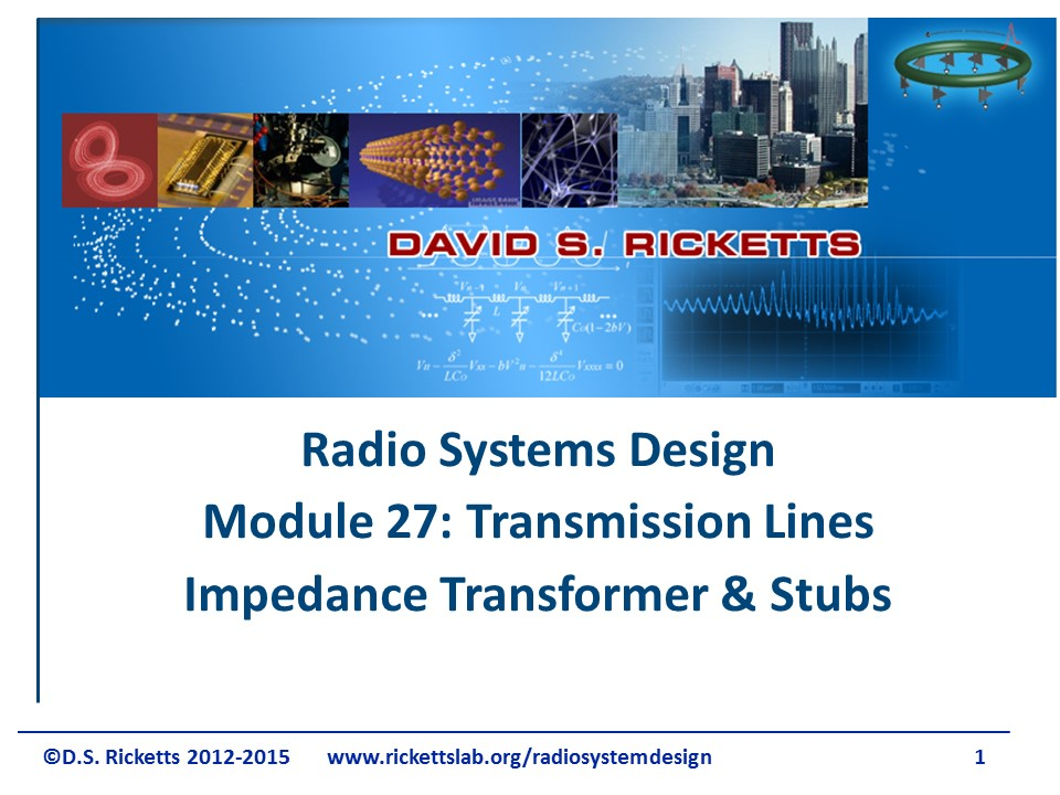 Module 27 Transmission Line Transformer and Stubs